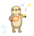 cute singing sloth playing little ukulele vector image vector image
