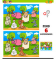 differences game with happy farm animal characters vector image vector image