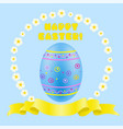easter blue painted egg and golden ribbon vector image