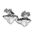fabulous flying islands sketch vector image vector image