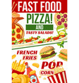 fast food pizza popcorn and fries snacks menu vector image vector image