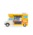 fast food truck isolated car with snacks vector image