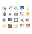 flat icons set seo and marketing vector image vector image