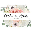 floral wedding invite save date card design vector image vector image