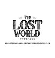font lost world craft retro vintage typeface vector image vector image