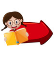 girl reading book and red arrow vector image