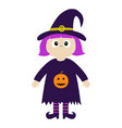 girl wearing witch costume curl hat orange vector image vector image