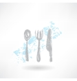 Grey cutlery grunge icon vector image