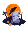 halloween raven sitting on a gravestone vector image vector image