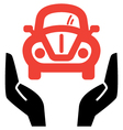hands holding red retro car icon vector image vector image