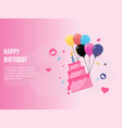 happy birthday concept in pink background vector image