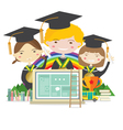 Happy Students In Graduation Suit vector image vector image