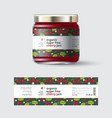 jam cherry label and packaging jar with cap vector image vector image