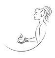 line art woman drinking coffee vector image vector image