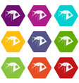 one person tent icons set 9 vector image