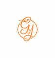 orange gy initial script font logo vector image vector image