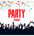 party hangout ribbon hands up people background ve vector image