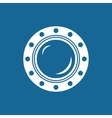 Round Ship Porthole Isolated on Blue vector image