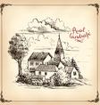 rural landscape farming - hand drawn vector image