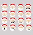 santa emoticon icon flat design cartoon face vector image vector image