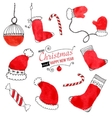 Set of hand drawn Christmas doodles for design vector image vector image