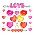 Set of pink glass love elements vector image vector image