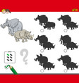 shadows activity game with wild animals vector image vector image