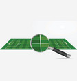 soccer field and magnifying glass vector image vector image