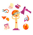 swimmer and beach accessories set for label design vector image vector image