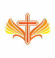 the cross of jesus and wings vector image vector image