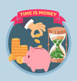 time is money blue poster vector image vector image