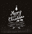 typography merry christmas and happy new year vector image vector image