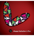 Valentine day card with trees inside heart vector image