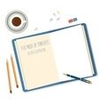 Open a blank white notebook pen andpencils on the vector image