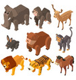 many wild animals in 3d design vector image