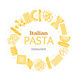pasta round design template banner card vector image