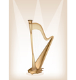 A Beautiful Harp on Brown Stage Background vector image vector image