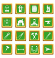blacksmith icons set green vector image vector image
