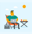 business man working on a laptop on the beach vector image vector image