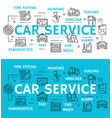 car service and auto repair line icons vector image vector image