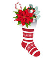 christmas decorative sock with gifts and flowers vector image