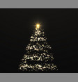 christmas shiny golden tree with glowing lights vector image vector image