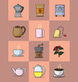 coffee and tea colorful collection vector image