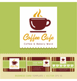 Coffee cafe icon logo and business card design vector image vector image