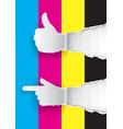 color printing promotion background with thumbs-up vector image vector image