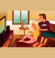 couple watching tv at home vector image vector image