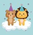 cute lion with dog kawaii birthday card vector image