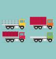 delivery transport truck van set flat vector image vector image