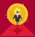 devil businessmen succeed with large gold coin vector image