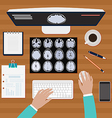 Doctor works with X ray of the brains vector image vector image